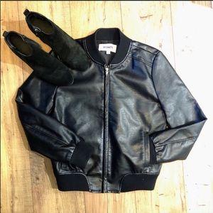 BB Dakota Gavin vegan leather bomber jacket small
